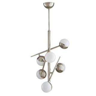 Arteriors Modern Silver Finish and Opal Glass Linkka Chandelier For Sale