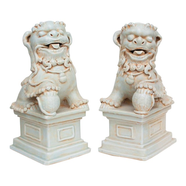 20th Century Large Chinese Celadon Foo Lions - a Pair For Sale
