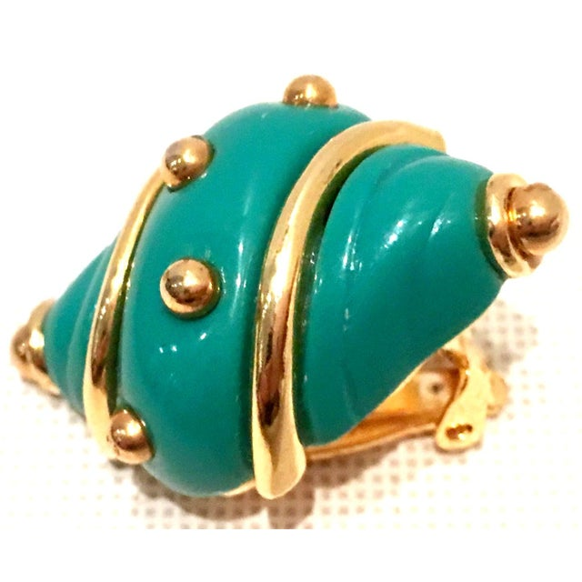 Turquoise 20th Century Kenneth J Lane Gold & Enamel Snail Form Earrings For Sale - Image 8 of 11