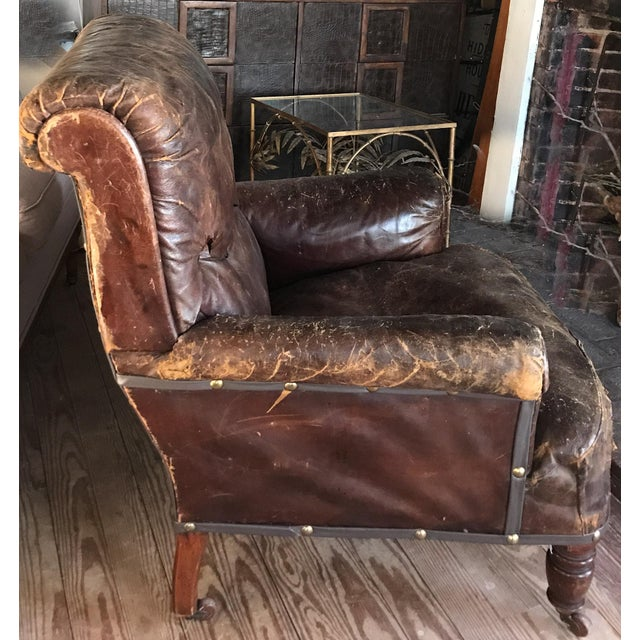 Boho Chic Old, Distressed Leather Club Chair For Sale - Image 3 of 10