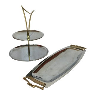 1960s Space Age Brass Serving Trays - Set of 2 For Sale