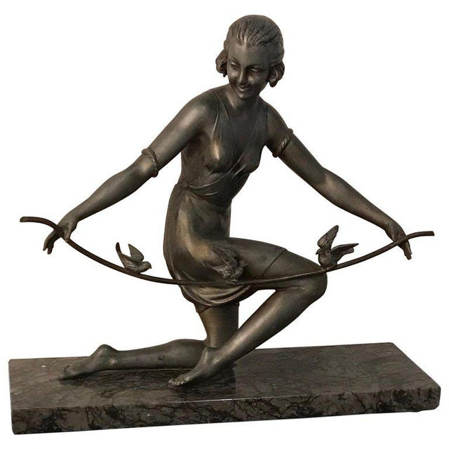 French Art Deco Female Sculpture on Marble For Sale - Image 13 of 13