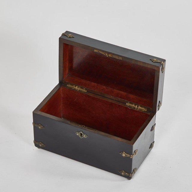 Art Nouveau French Ebonzied and Decorated Box For Sale - Image 3 of 9