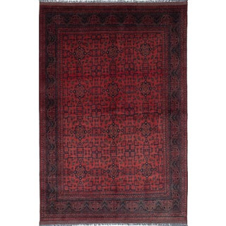 """Hand-Knotted Tribal Afghan Rug- 6'4"""" X 9'5"""" For Sale"""
