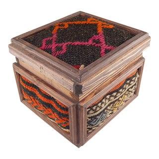 Turkish Kilim Box, Vintage Wooden Unique Chest, Mothers Day Present, Jewellery Box, Decorative Storage, Kilim Rug Chest, Anatolian Farmhouse Decor For Sale