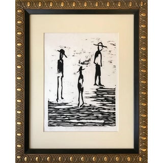 """En La Soledad"" Modernist Woodblock by Lombardo For Sale"
