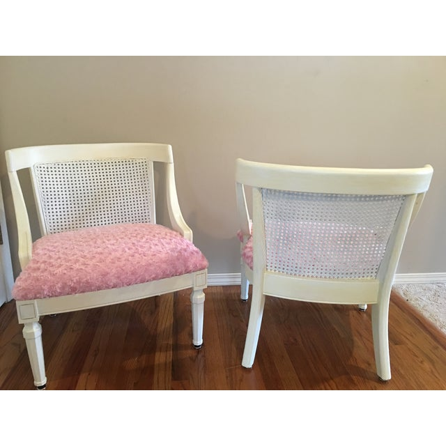 Vintage Pink Textured Rosebud Chairs - A Pair - Image 4 of 5