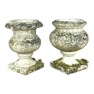 Pair 19th Century Carved Marble Vases For Sale
