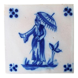 Antique Portuguese Tin-Glazed Pottery Tile Depicting a Chinese Man For Sale