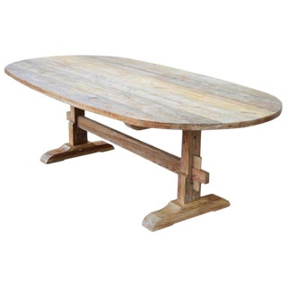 Rustic Racetrack Farm Table Made From Reclaimed Pine For Sale