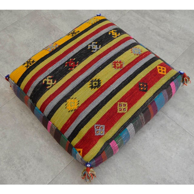 Turkish Hand Woven Kilim Floor Cushion Sitting Pillow Cover - 26″ X ...