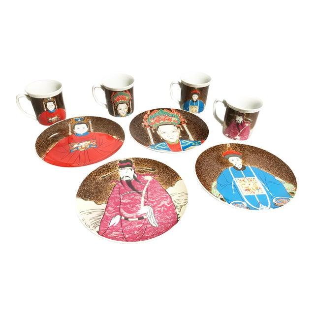 Vintage Seymour Mann Chinese Emperor Porcelain Dinnerware Set - 8 Pieces For Sale