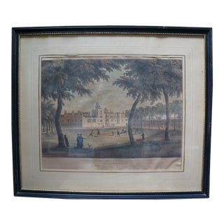 Early 20th Century Antique English Vauxhall Painted Engraving For Sale