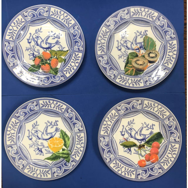 Blue Bird Salad Plates Made in Italy Blue/White With Fruit - Set of 4 For Sale - Image 9 of 9