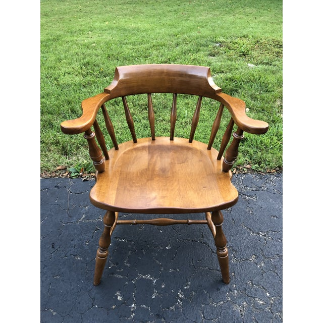Brown Vintage Mid Century Pennsylvania House Barrel Back Captains Chair For Sale - Image 8 of 8
