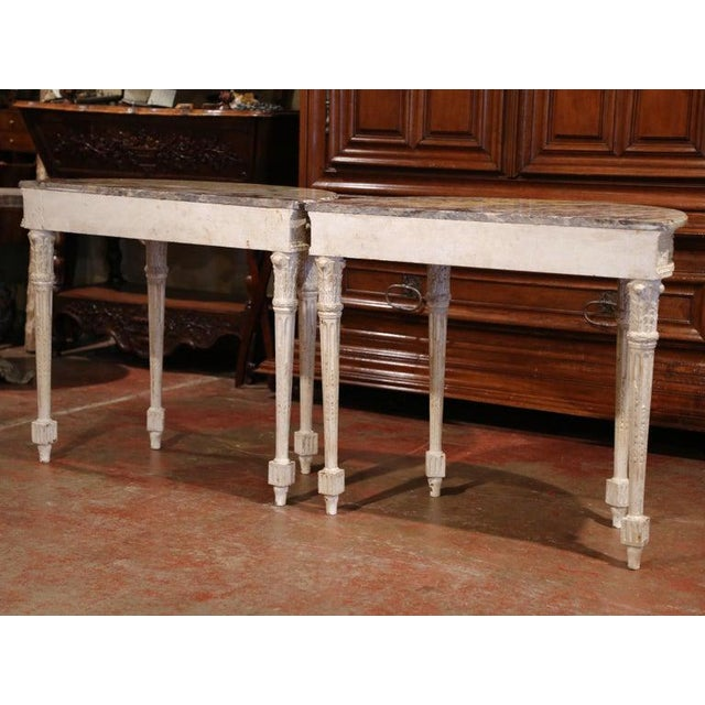Pair of 19th Century Louis XVI Carved Painted Demilune Consoles With Marble Top For Sale - Image 9 of 10
