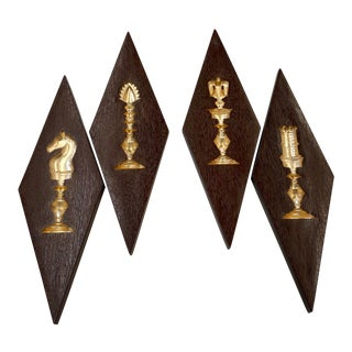 Mid Century Chess Piece Wall Decor, Set of 4 For Sale