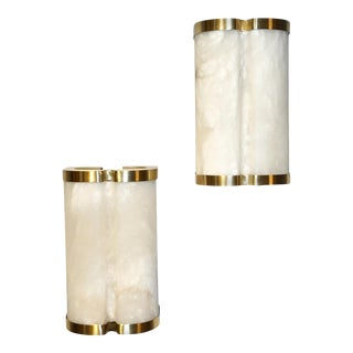 Bespoke Italian Art Deco Style Cream White Alabaster Brass Edged Sconces - a Pair For Sale