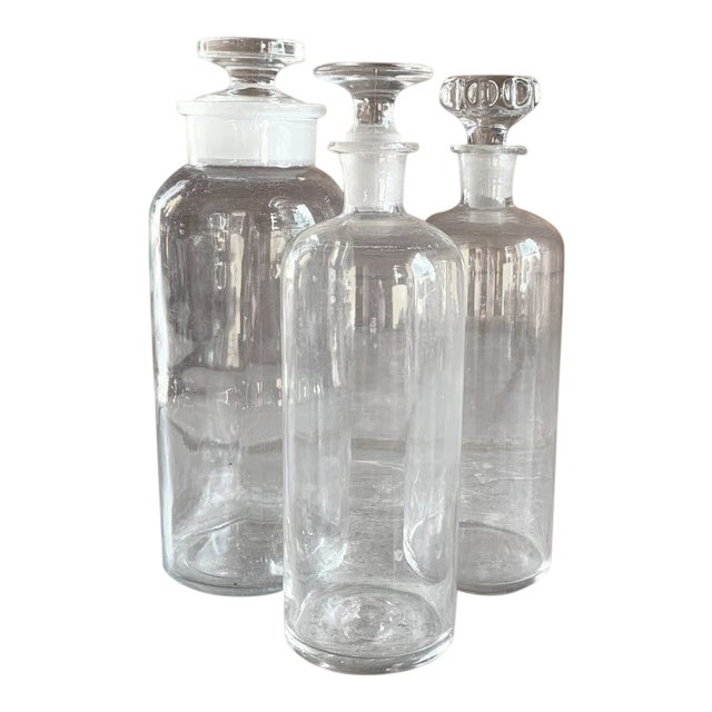 Set of 3 Old Glass Pharmacy Bottles With Stoppers For Sale