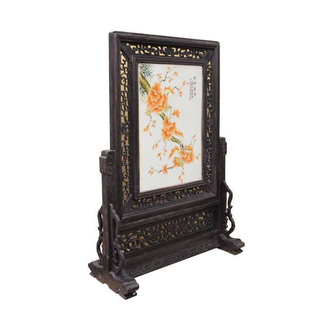 Chinese Wood Frame Porcelain Plaque Table Top Screen Display For Sale - Image 4 of 9