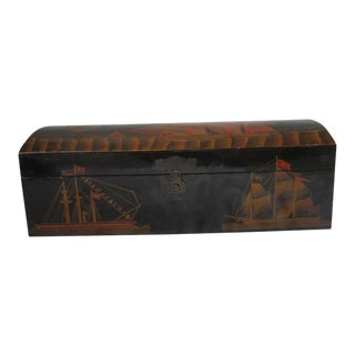 Vintage Chinese Black Lacquer Trunk For Sale