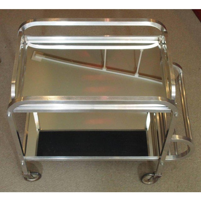 Art Deco French Art Deco Aluminum Drinks Trolley with Removable Tray-Style of Adnet For Sale - Image 3 of 8