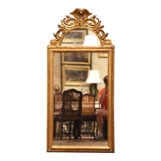 Mid-20th Century Italian Carved Giltwood Wall Mirror With Smoked Glass For Sale