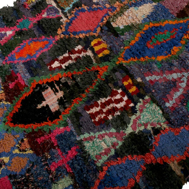 Rug & Kilim Vintage Moroccan Berber Geometric Red Blue and Black Fabric Tribal Rug For Sale - Image 4 of 6