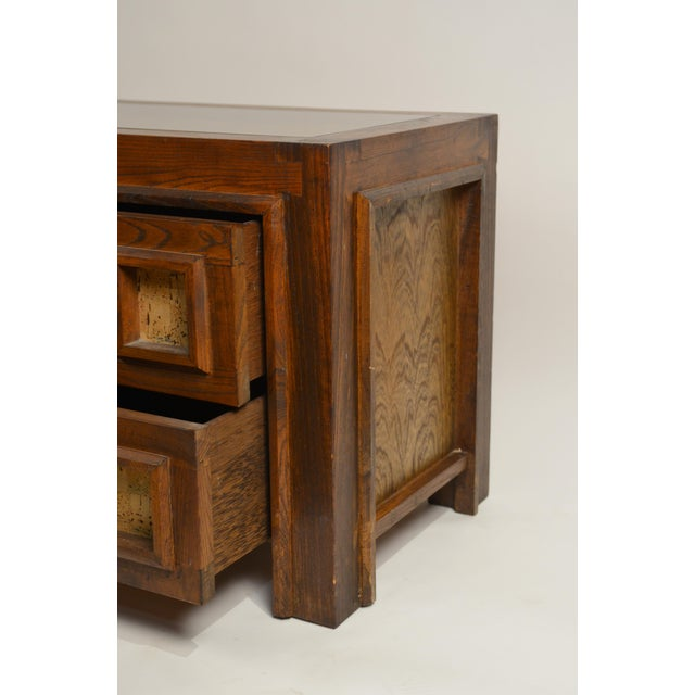 Brutalist Stained Oak and Cork Nightstands - a Pair For Sale In Los Angeles - Image 6 of 8