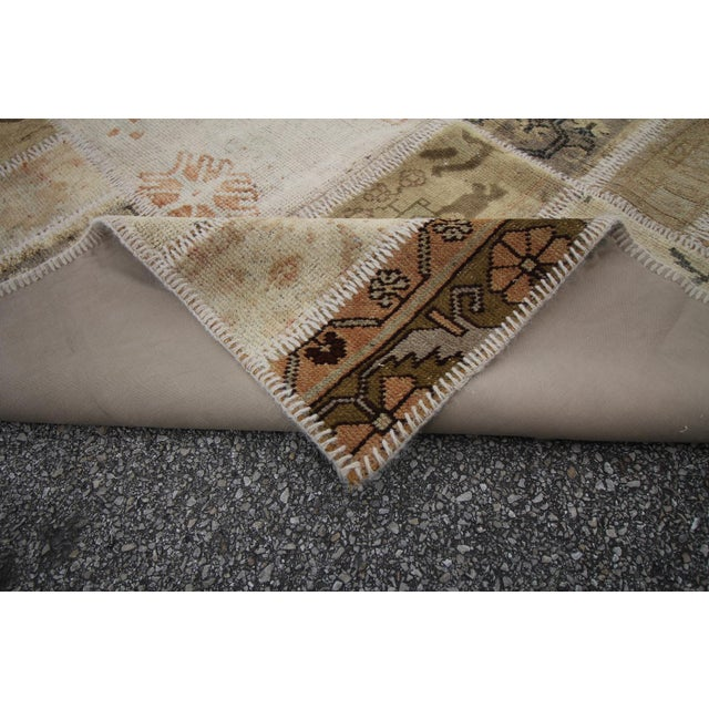 Vintage Turkish Patchwork Oushak Rug - 5′10″ × 8′5″ - Image 6 of 6