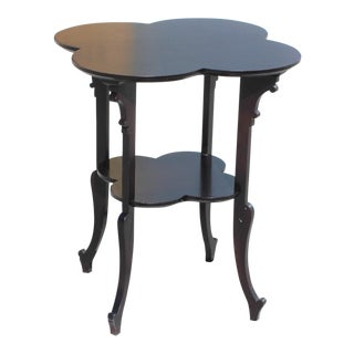 Monumental French Art Deco Dark Mahogany Two-Tier Side Table Or Accent Table Circa 1940s.