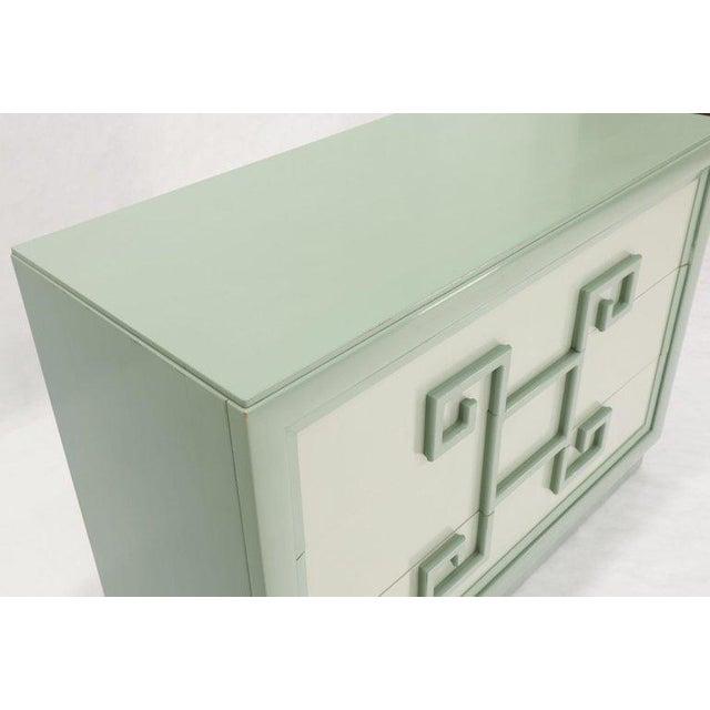 1960s Kittinger Mandarin Style Bachelor Chest Dresser Blue and White Lacquer For Sale - Image 5 of 12