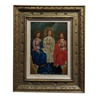 19th Century Spanish Colonial Icon -The Holy Trinity -Oil Painting For Sale