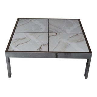 1960s Mid-Century Modern Dia Chrome and Marble Coffee Table For Sale