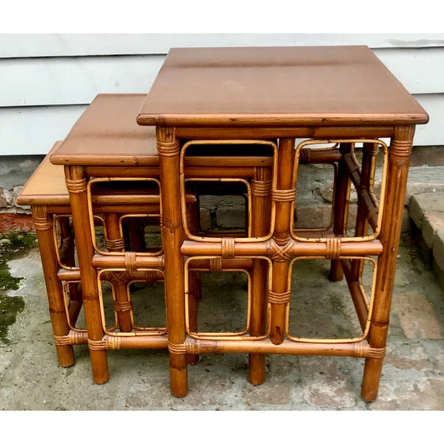 1960s Mid-Century Modern Rattan Nesting Tables - Set of 3 For Sale - Image 13 of 13