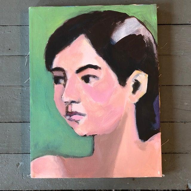 Vintage Original Female Portrait Painting 1980's For Sale - Image 4 of 4