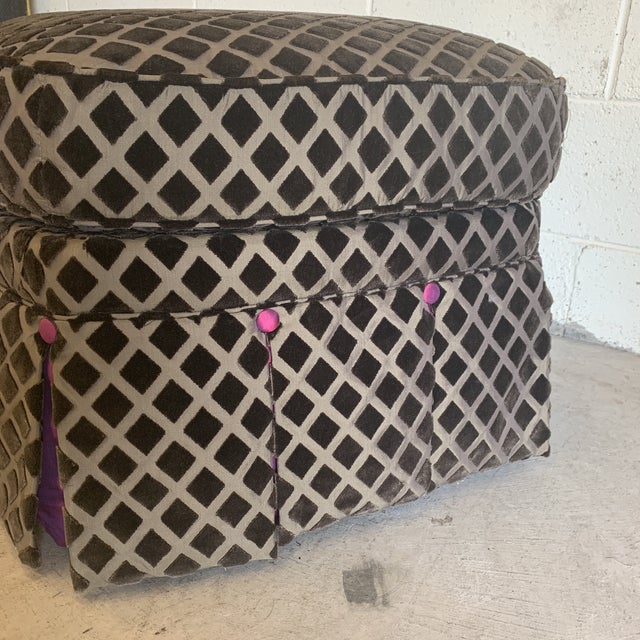 Chocolate Laser Cut Velvet and Pink Satin Ottoman For Sale - Image 9 of 11