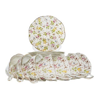 Vintage 1940s Rosina June Chintz Tulips Cup & Saucer Set of 13 For Sale