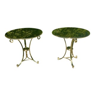 Grand Scale Stone and Brass Gueridon Side Tables - a Pair For Sale