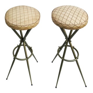 1950s Vintage Gio Ponti Style Bar Stools- A Pair For Sale