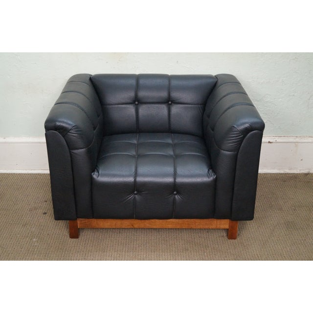 Mid Century Modern Black Faux Leather Tufted Club Chair For Sale - Image 10 of 10