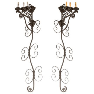 Set of Three Large Spanish Wrought Iron Wall Sconces With Three Lights For Sale