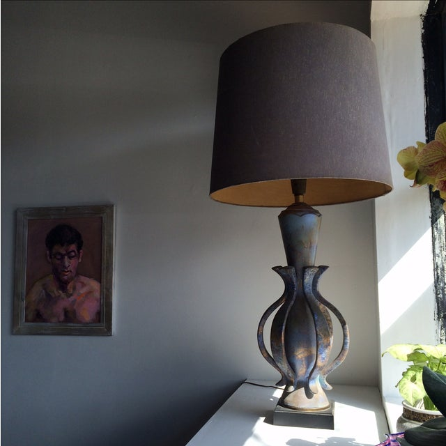 Rare lamp by TYE of California. Original shade and beautiful glaze on the ceramic wooden base.