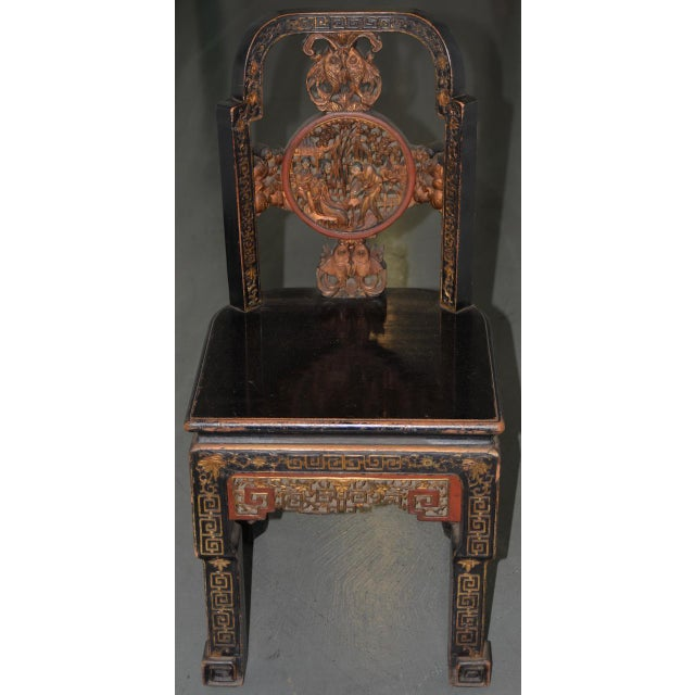 19th Century Carved & Painted Chinese Side Chair Brilliant 19th century carved Chinese side chair with ample remains of...