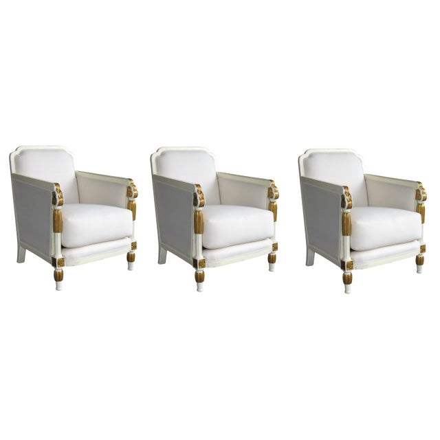 White French Art Deco Ivory-Lacquered & Parcel-Gilt Club Chairs-Set of 3 For Sale - Image 8 of 8
