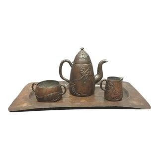 1910 Arts & Crafts Copper Tea/Coffee Set - 4 Pieces For Sale