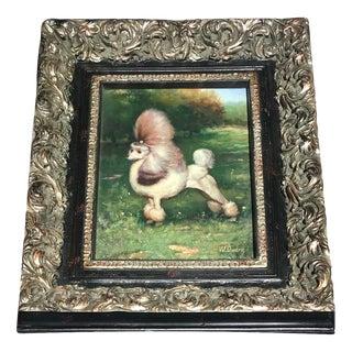 Original Signed Vintage French Poodle Dog Oil Painting