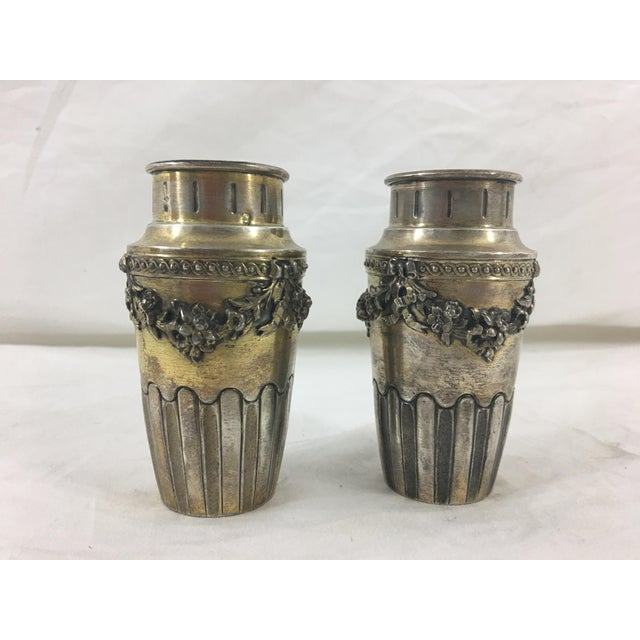 French Napoleon III Sterling Silver Vermeil Miniature Vases - a Pair For Sale - Image 4 of 4