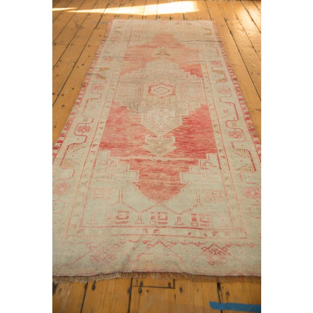 "Old New House Vintage Distressed Oushak Rug Runner - 3'5"" X 9'1"" For Sale - Image 4 of 11"