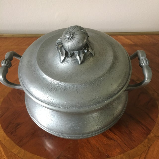 A very nice vintage pewter tureen with an onion as the handle/finial, made in France by Les Etains De L'abbaye.